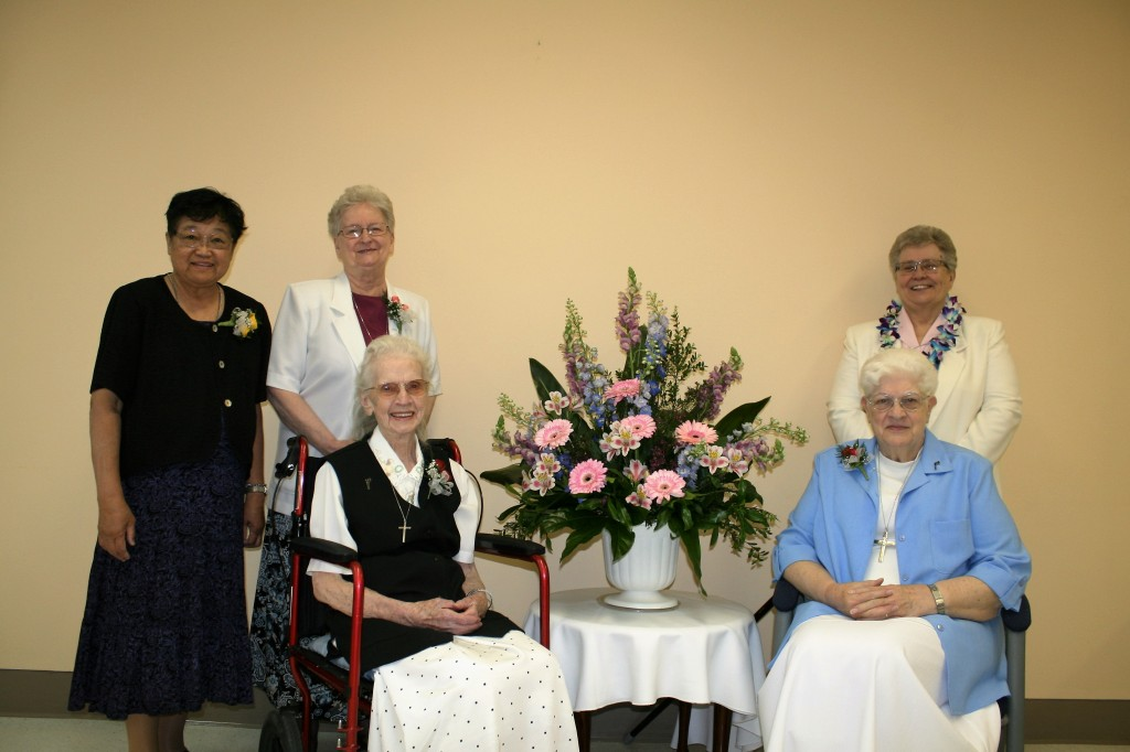 From left to right:  Sr. Estela Andaya, SP; Sr. Gloria Keylor, SP, Provincial Superior; Sr. Mary Lei Gordon, SP front row: Sr. Theresa Devine, SP; Sr. Joan Wigbers, SP